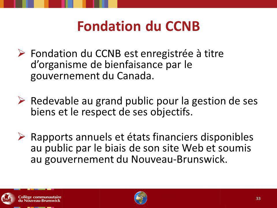 Fondation du CCNB 33 Fondation du CCNB est enregistrée à titre dorganisme de bienfaisance par le gouvernement du Canada. Redevable au grand public pou