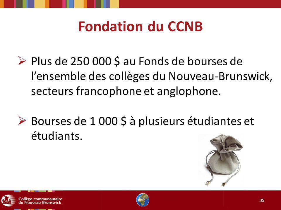 35 Plus de 250 000 $ au Fonds de bourses de lensemble des collèges du Nouveau-Brunswick, secteurs francophone et anglophone. Bourses de 1 000 $ à plus