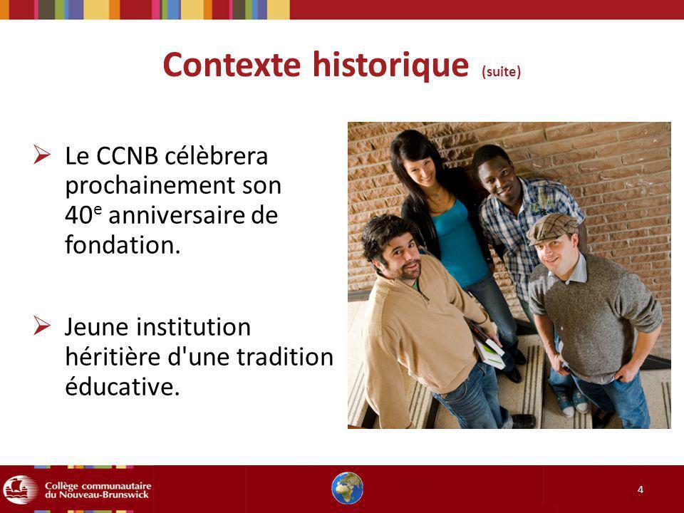 Contexte historique (suite) 5 Le Nouveau-Brunswick mise sur la jeunesse et le développement de son capital humain pour développer son économie.
