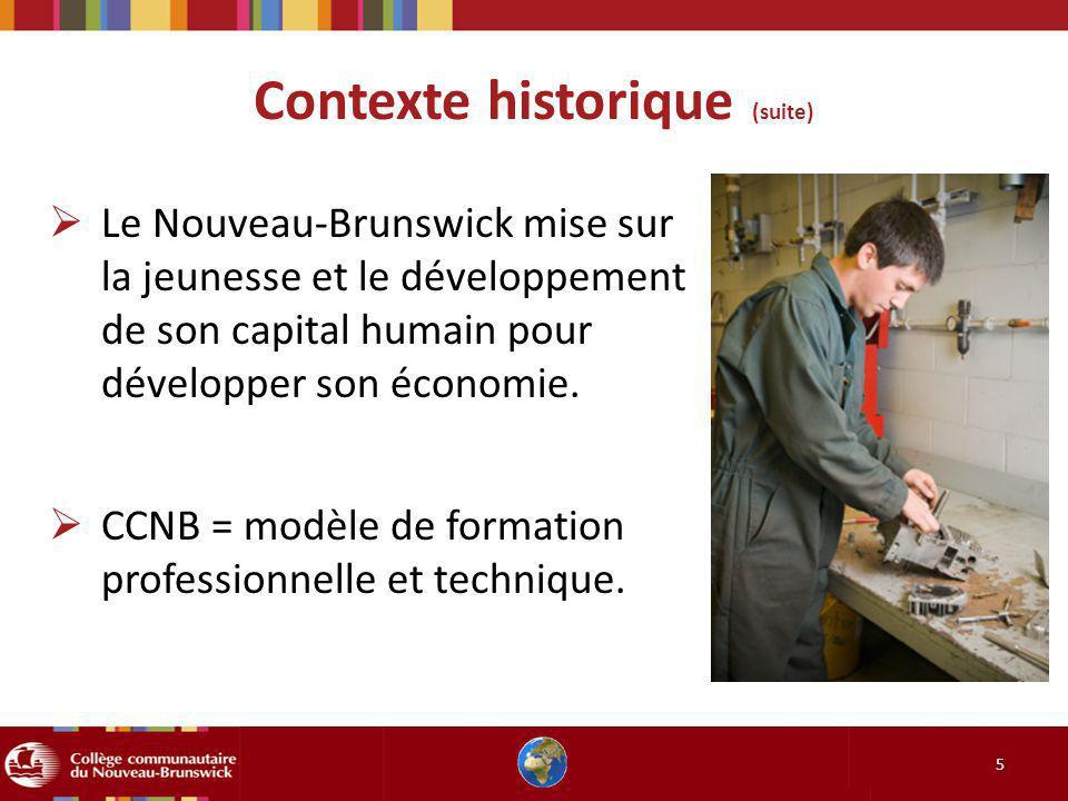 Contexte historique (suite) 5 Le Nouveau-Brunswick mise sur la jeunesse et le développement de son capital humain pour développer son économie. CCNB =