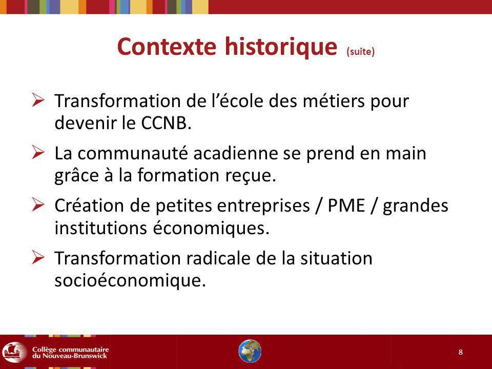 Contexte historique (suite) 8 Transformation de lécole des métiers pour devenir le CCNB. La communauté acadienne se prend en main grâce à la formation