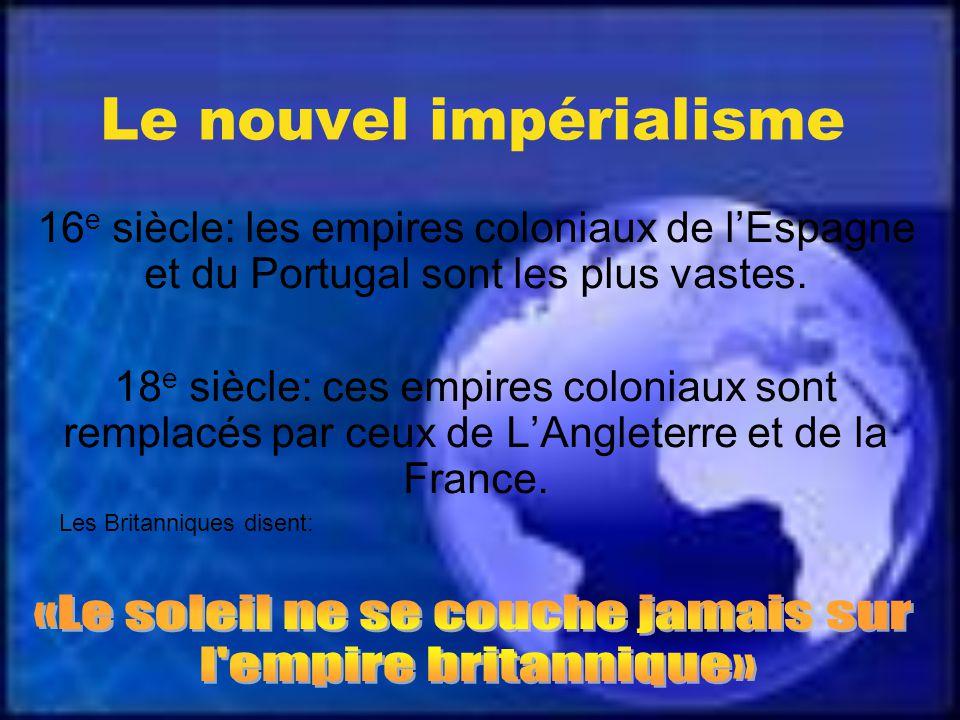Le nouvel impérialisme 16 e siècle: les empires coloniaux de lEspagne et du Portugal sont les plus vastes.