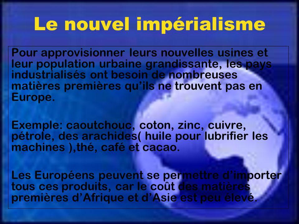 Le nouvel impérialisme Pour approvisionner leurs nouvelles usines et leur population urbaine grandissante, les pays industrialisés ont besoin de nombreuses matières premières quils ne trouvent pas en Europe.