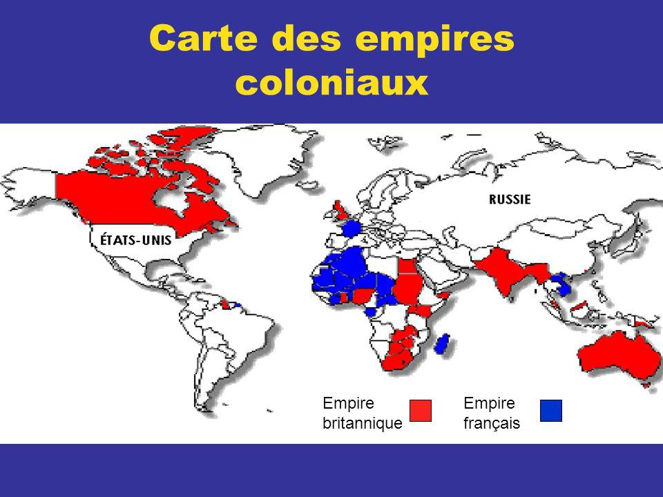 Carte des empires coloniaux Empire britannique Empire français