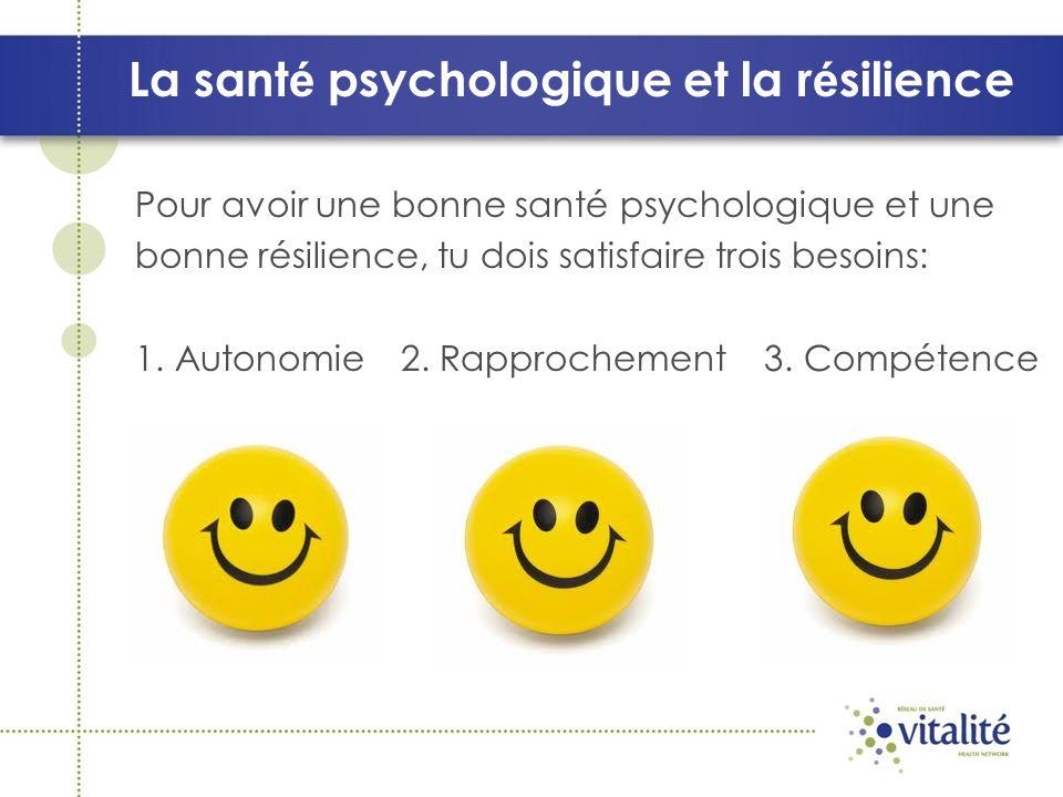 La santé psychologique et la résilience 1.LAUTONOMIE : Cest lorsque tu as la liberté de faire des choix et de prendre des décisions face à ta vie.