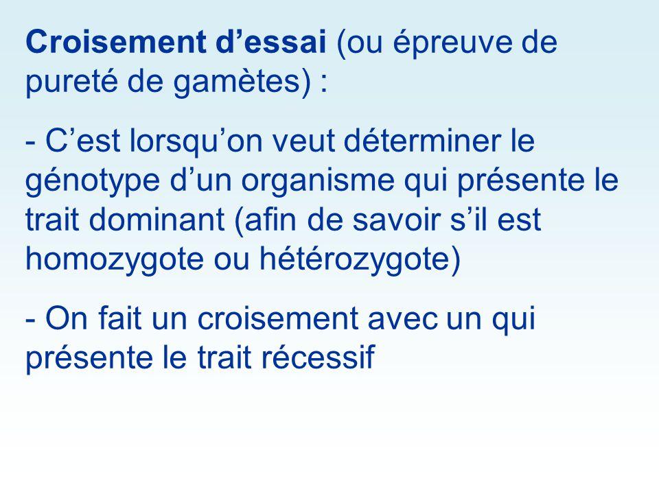 Croisement dessai (ou épreuve de pureté de gamètes) : - Cest lorsquon veut déterminer le génotype dun organisme qui présente le trait dominant (afin d