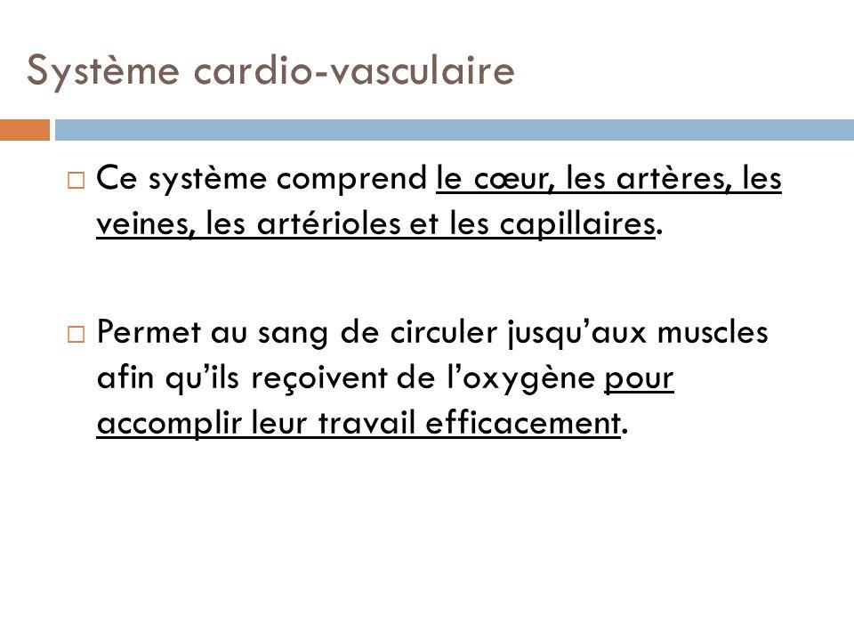 Système cardio-vasculaire Ce système comprend le cœur, les artères, les veines, les artérioles et les capillaires. Permet au sang de circuler jusquaux