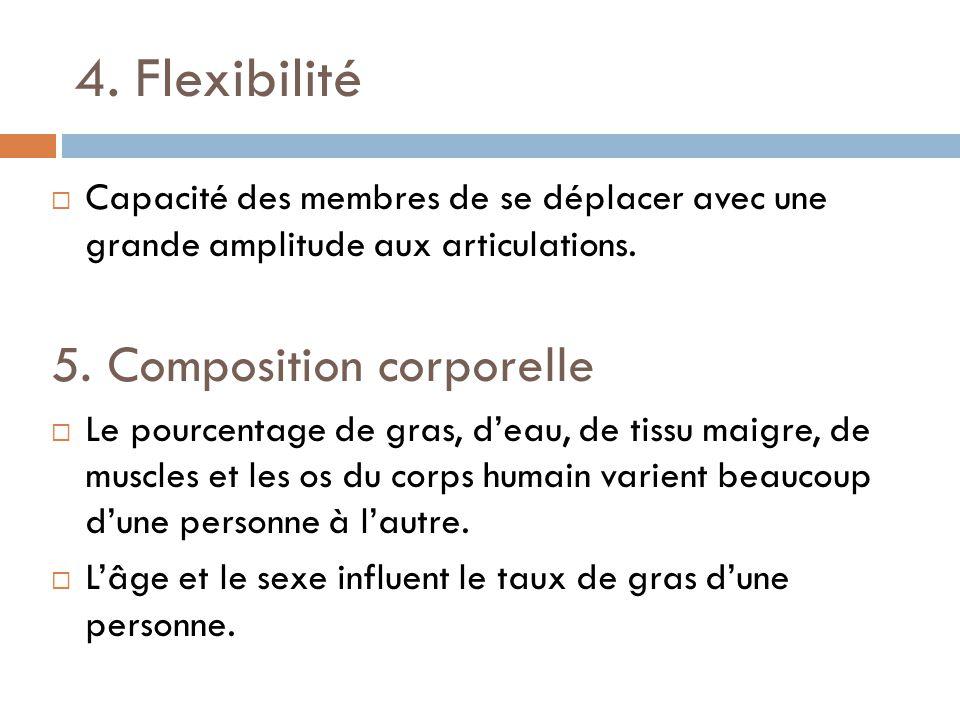 4. Flexibilité Capacité des membres de se déplacer avec une grande amplitude aux articulations. 5. Composition corporelle Le pourcentage de gras, deau