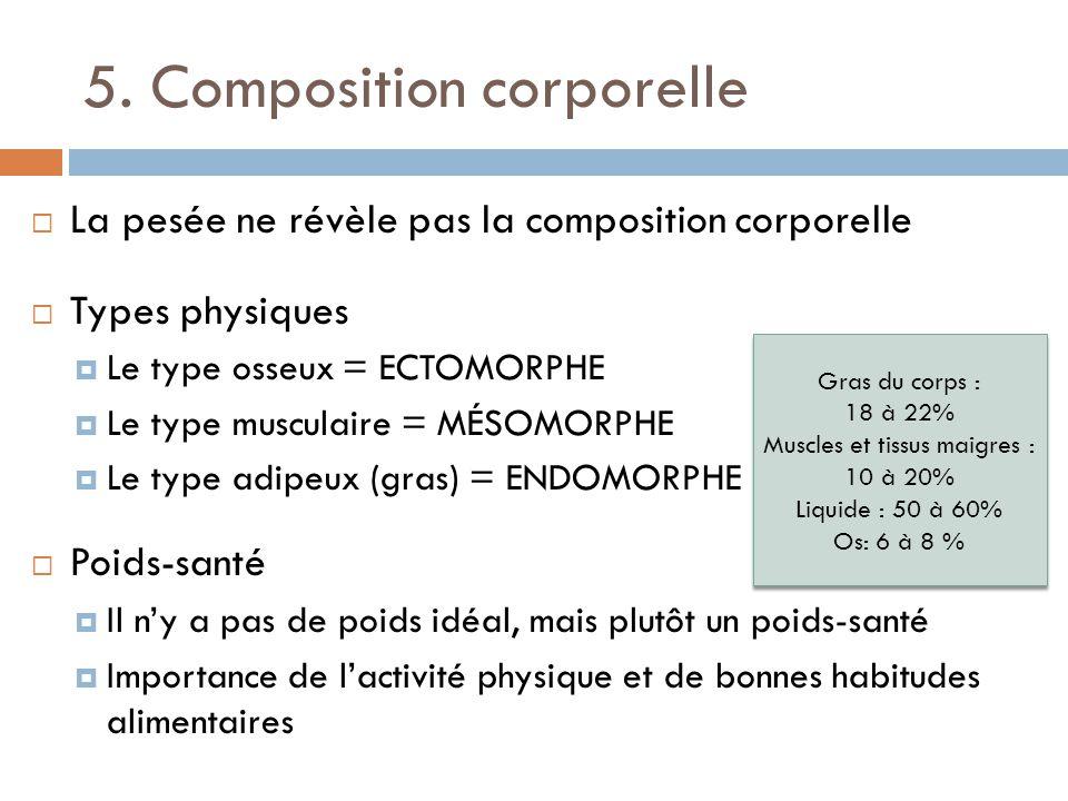 5. Composition corporelle La pesée ne révèle pas la composition corporelle Types physiques Le type osseux = ECTOMORPHE Le type musculaire = MÉSOMORPHE
