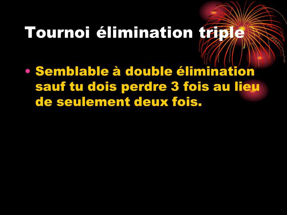Tournoi élimination triple Semblable à double élimination sauf tu dois perdre 3 fois au lieu de seulement deux fois.