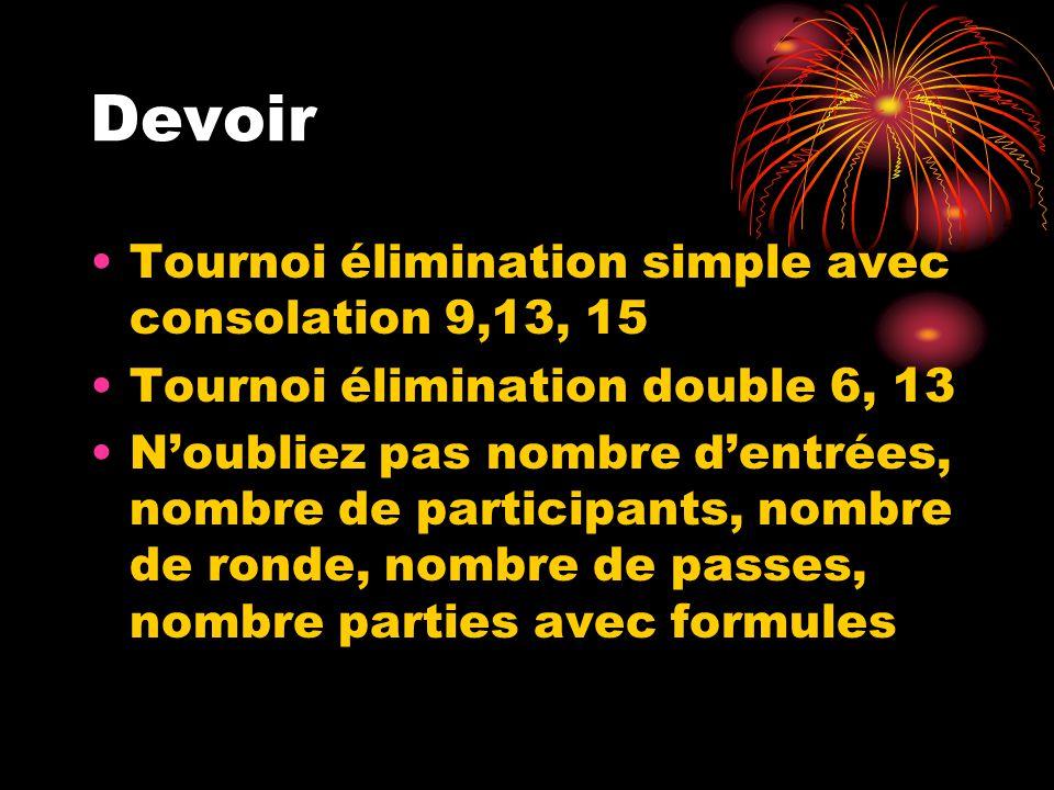 Devoir Tournoi élimination simple avec consolation 9,13, 15 Tournoi élimination double 6, 13 Noubliez pas nombre dentrées, nombre de participants, nom