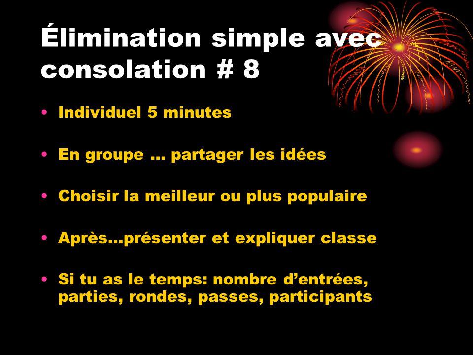 Élimination simple avec consolation # 8 Individuel 5 minutes En groupe … partager les idées Choisir la meilleur ou plus populaire Après…présenter et e