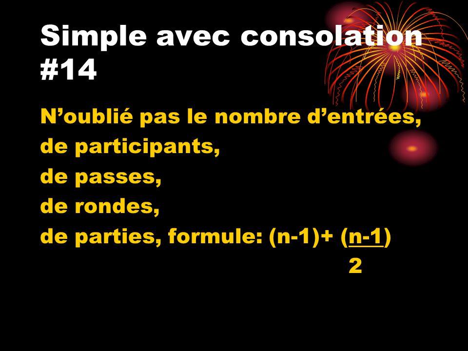 Simple avec consolation #14 Noublié pas le nombre dentrées, de participants, de passes, de rondes, de parties, formule: (n-1)+ (n-1) 2