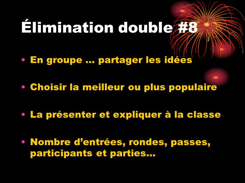 Élimination double #8 En groupe … partager les idées Choisir la meilleur ou plus populaire La présenter et expliquer à la classe Nombre dentrées, rond