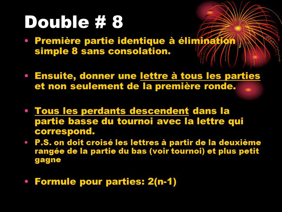 Double # 8 Première partie identique à élimination simple 8 sans consolation. Ensuite, donner une lettre à tous les parties et non seulement de la pre