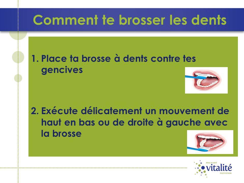 Comment te brosser les dents 1. Place ta brosse à dents contre tes gencives 2.Exécute délicatement un mouvement de haut en bas ou de droite à gauche a