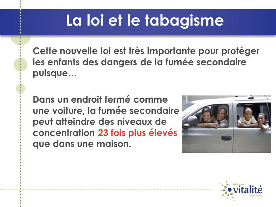 Cette nouvelle loi est très importante pour protéger les enfants des dangers de la fumée secondaire puisque… Dans un endroit fermé comme une voiture, la fumée secondaire peut atteindre des niveaux de concentration 23 fois plus élevés que dans une maison.