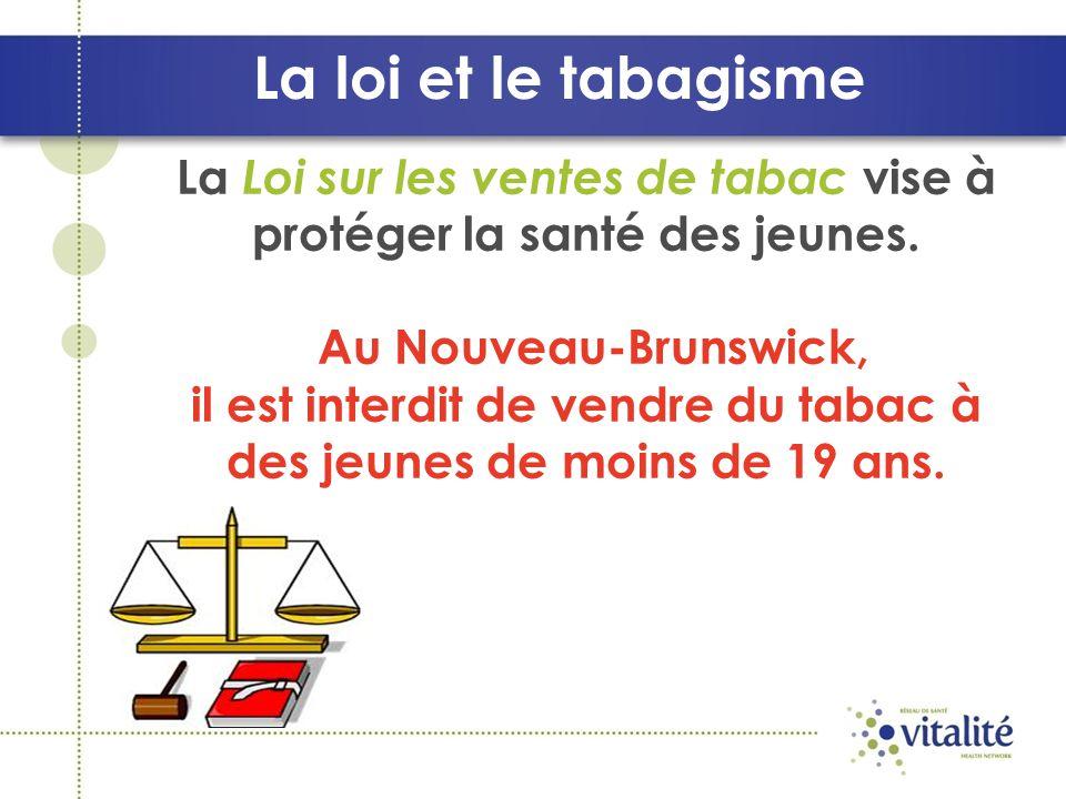 La loi et le tabagisme La Loi sur les ventes de tabac vise à protéger la santé des jeunes.