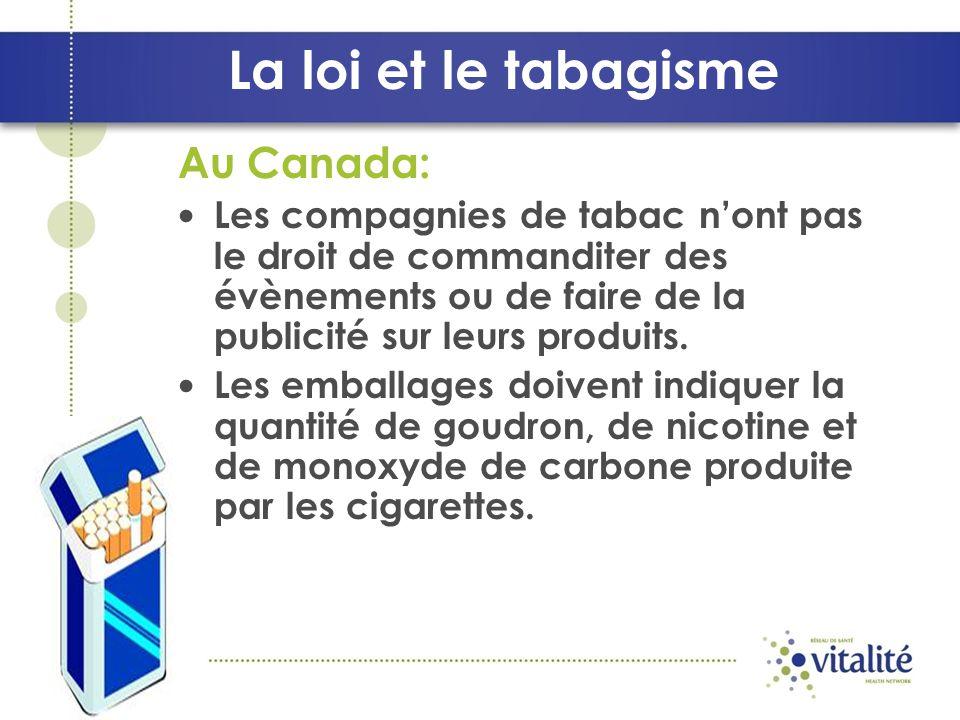 Au Canada: Les compagnies de tabac nont pas le droit de commanditer des évènements ou de faire de la publicité sur leurs produits.