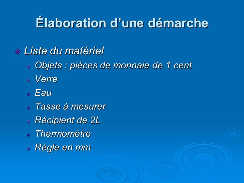 Élaboration dune démarche Liste du matériel Objets : pièces de monnaie de 1 cent VerreEau Tasse à mesurer Récipient de 2L Thermomètre Règle en mm