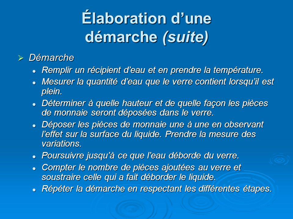 Élaboration dune démarche (suite) Démarche Démarche Remplir un récipient deau et en prendre la température.