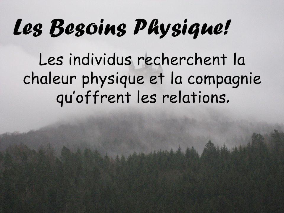 Les Besoins Physique! Les individus recherchent la chaleur physique et la compagnie quoffrent les relations.