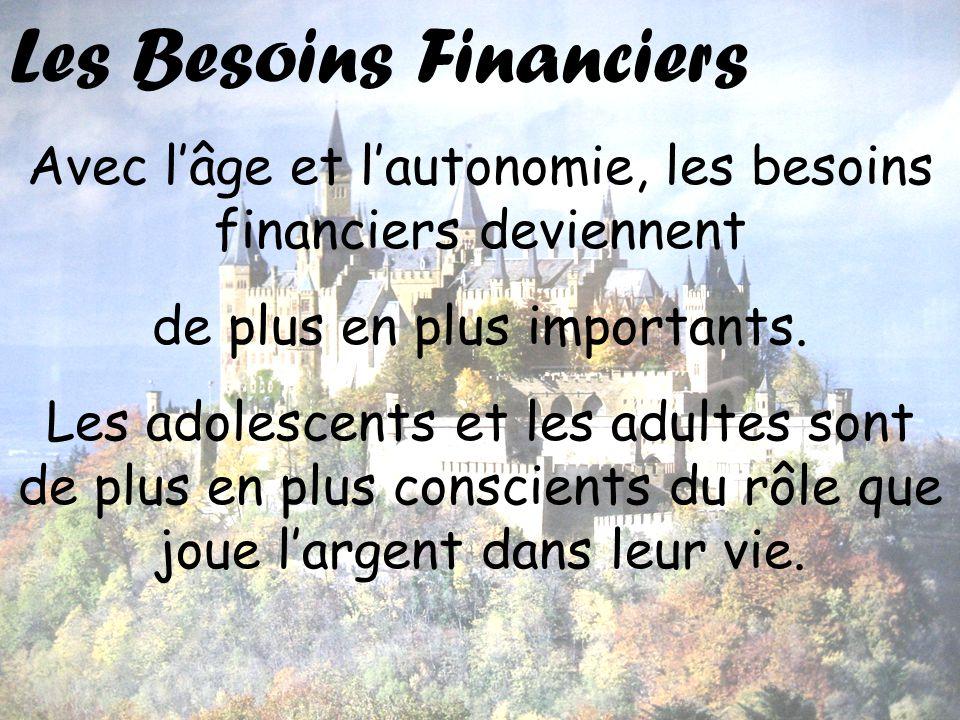 Les Besoins Financiers Avec lâge et lautonomie, les besoins financiers deviennent de plus en plus importants. Les adolescents et les adultes sont de p
