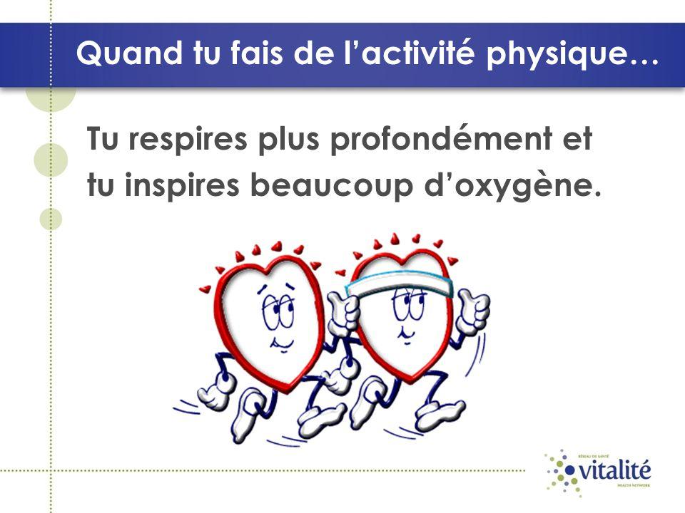 Quand tu fais de lactivité physique… Tu respires plus profondément et tu inspires beaucoup doxygène.