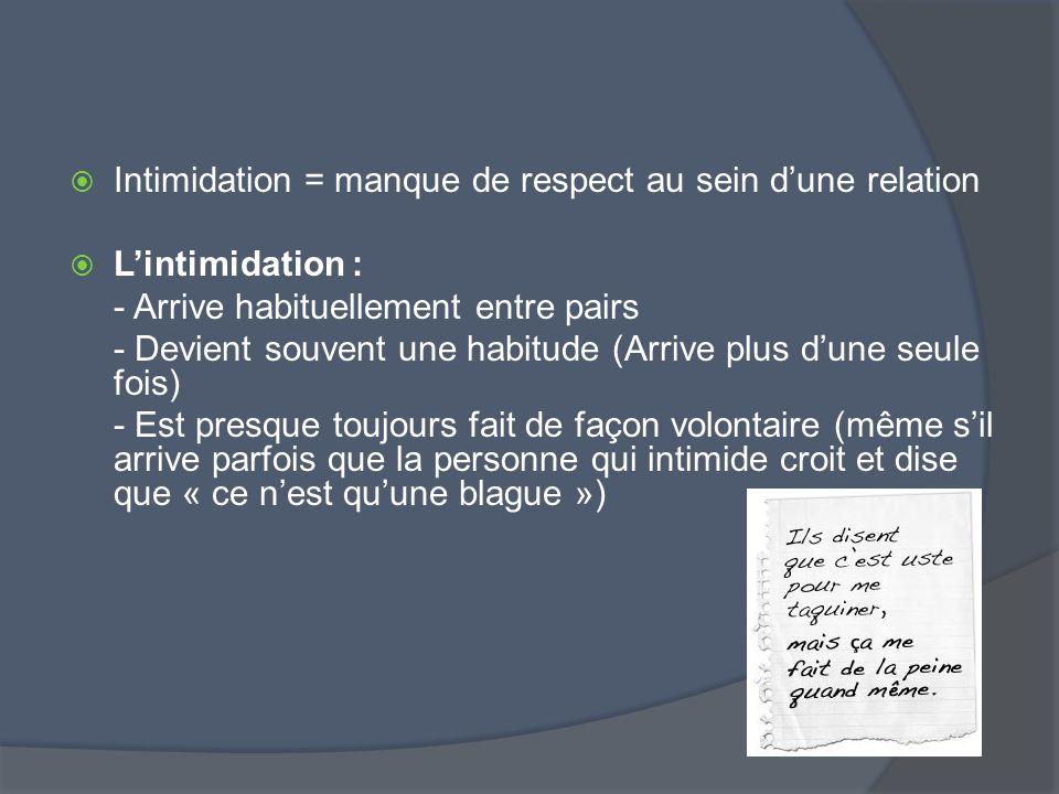Intimidation = manque de respect au sein dune relation Lintimidation : - Arrive habituellement entre pairs - Devient souvent une habitude (Arrive plus