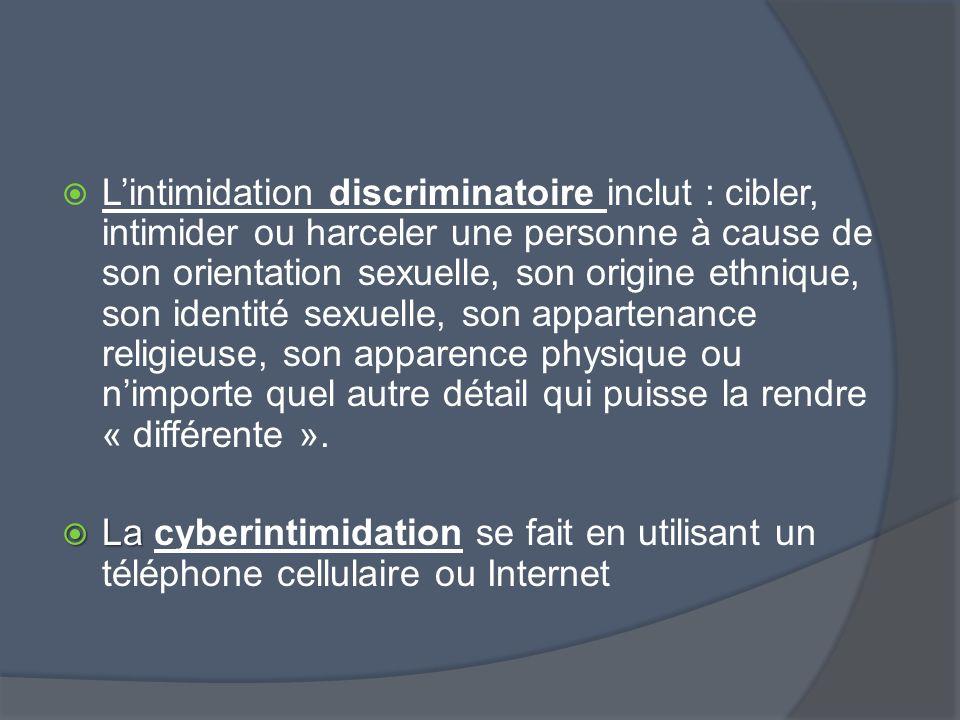 Lintimidation discriminatoire inclut : cibler, intimider ou harceler une personne à cause de son orientation sexuelle, son origine ethnique, son ident