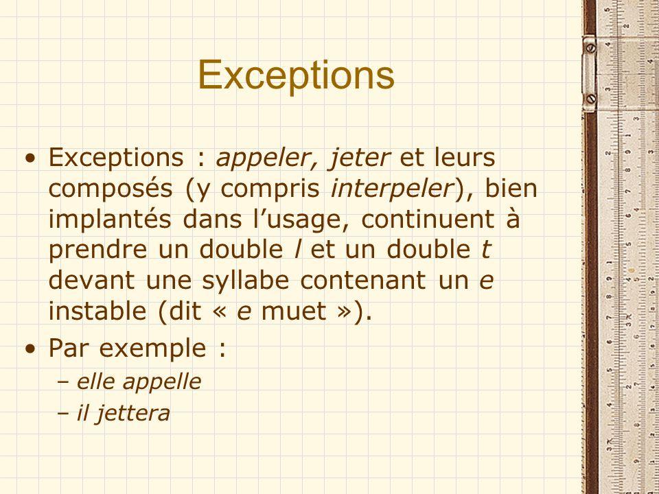 Exceptions Exceptions : appeler, jeter et leurs composés (y compris interpeler), bien implantés dans lusage, continuent à prendre un double l et un do