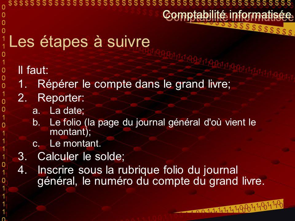 Les étapes à suivre Il faut: 1.Répérer le compte dans le grand livre; 2.Reporter: a.La date; b.Le folio (la page du journal général d'où vient le mont