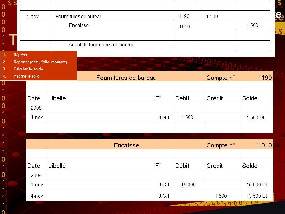 Transaction du 4 novembre Encaisse G. Dupéré - propriétaire 15 000 Investissement initial du propriétaire 2008 1-nov 4-novFournitures de bureau1 500 E