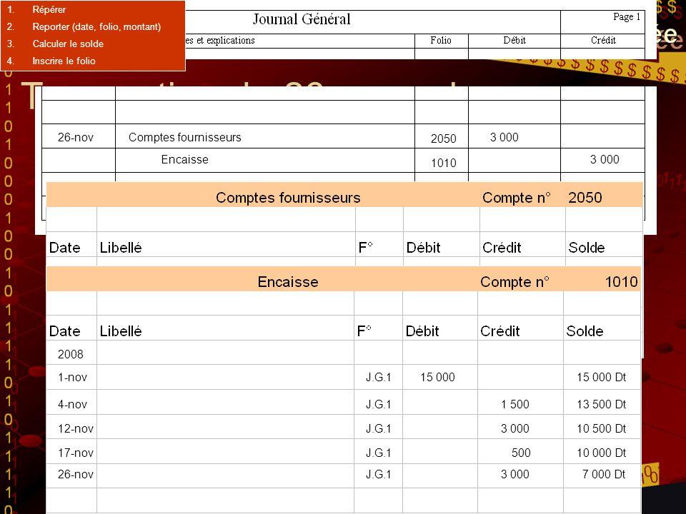 Transaction du 26 novembre 26-novComptes fournisseurs3 000 Encaisse 3 000 Paiement du compte fournisseurs 12-nov 2008 J.G.1 8 000 8 000 Ct 26-novJ.G.1