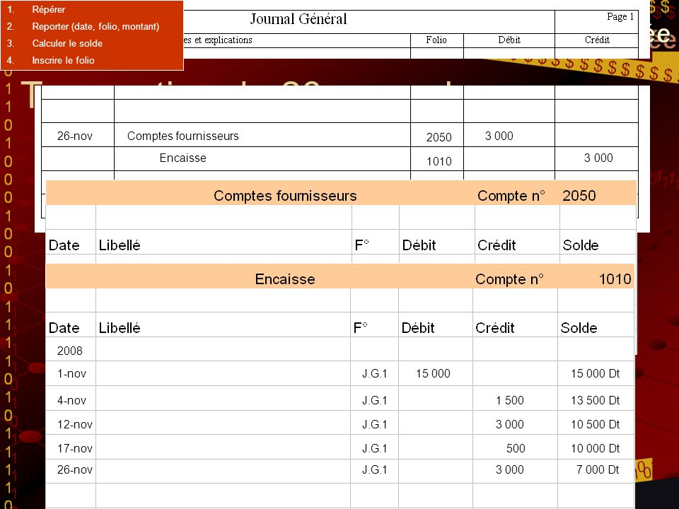 Transaction du 30 novembre 30-novEncaisse5 000 G.