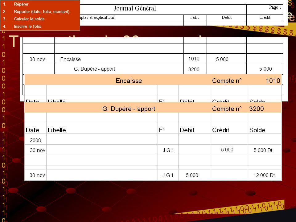Transaction du 30 novembre 30-novEncaisse5 000 G. Dupéré - apport 5 000 Investissement additionnel du propriétaire 2008 1-novJ.G.1 15 000 15 000 Dt 4-