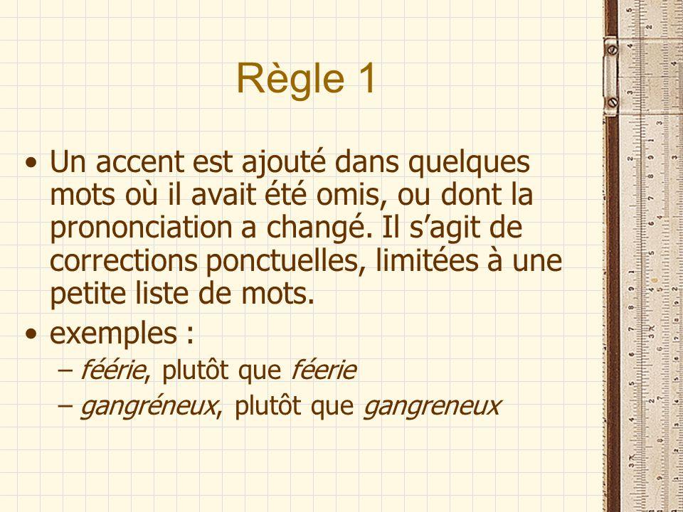 Règle 1 Un accent est ajouté dans quelques mots où il avait été omis, ou dont la prononciation a changé.
