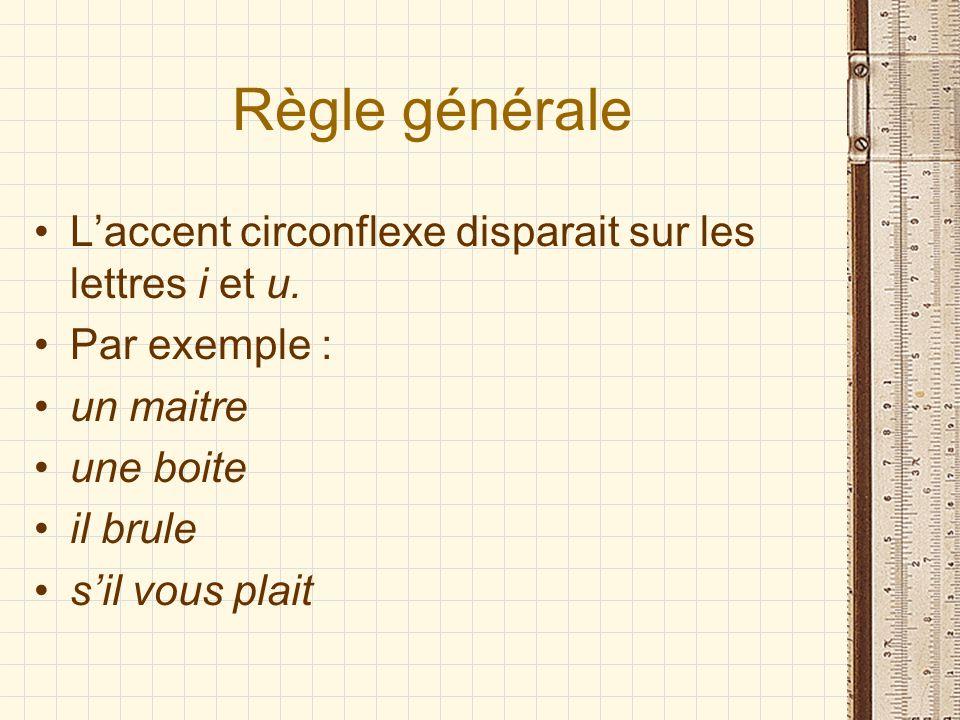 Règle générale Laccent circonflexe disparait sur les lettres i et u.