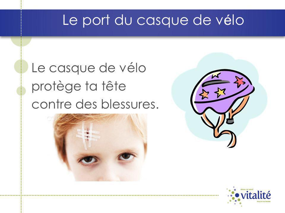 Le port du casque de v é lo Le casque de vélo protège ta tête contre des blessures.