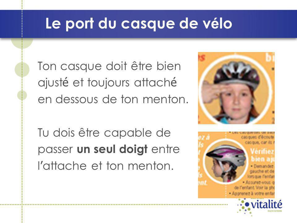 Le port du casque de v é lo Ton casque doit être bien ajust é et toujours attach é en dessous de ton menton.