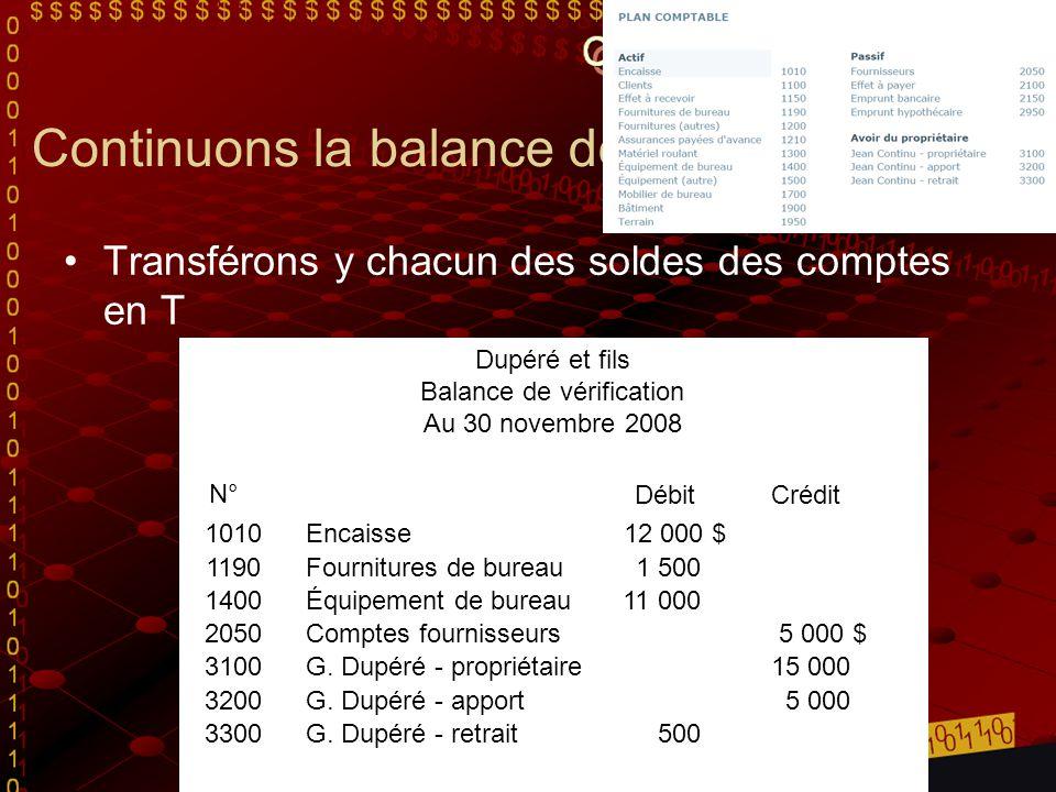 Continuons la balance de vérification Transférons y chacun des soldes des comptes en T Dupéré et fils Balance de vérification Au 30 novembre 2008 N° D