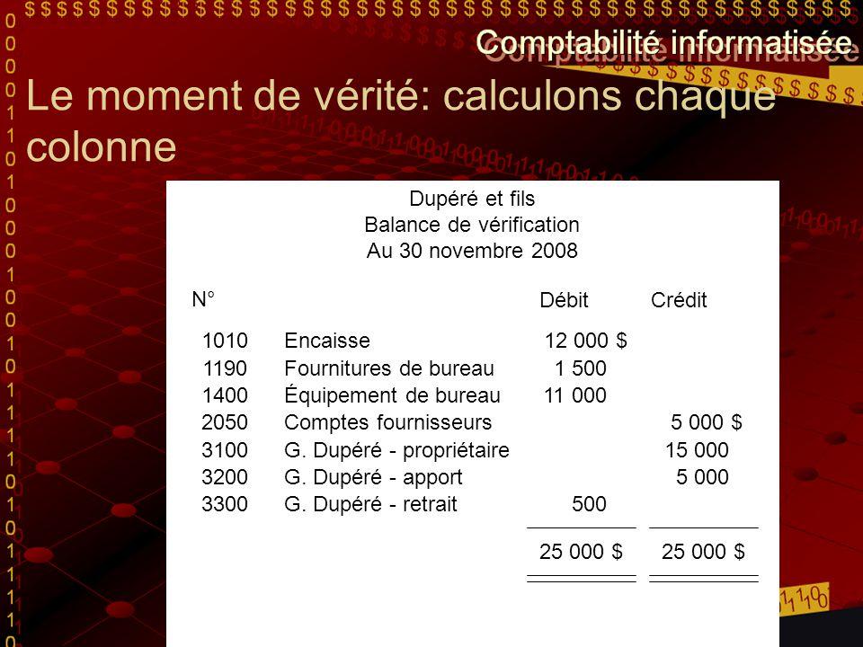Le moment de vérité: calculons chaque colonne Dupéré et fils Balance de vérification Au 30 novembre 2008 N° DébitCrédit 1010 Encaisse12 000 $ 1190 Fou