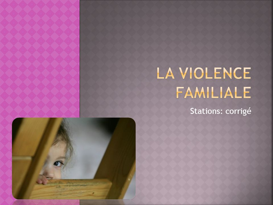 Partie A: Quest-ce que la violence familiale.1) Définis la violence familiale.