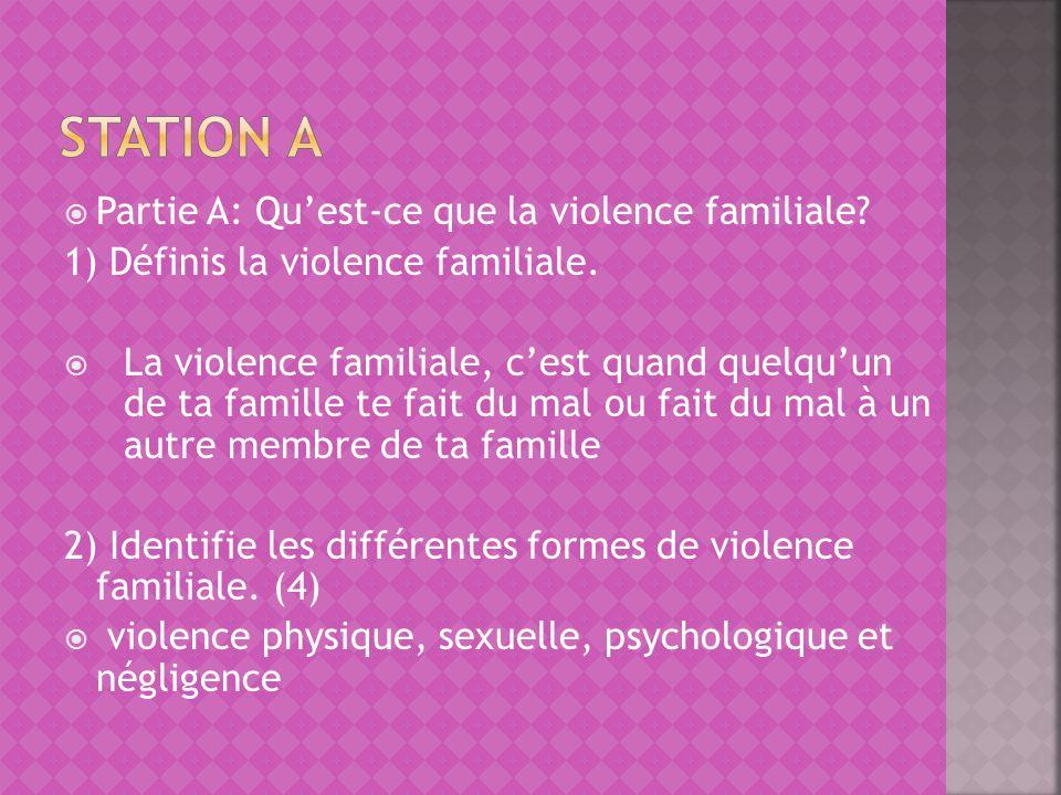 Partie A: Quest-ce que la violence familiale? 1) Définis la violence familiale. La violence familiale, cest quand quelquun de ta famille te fait du ma