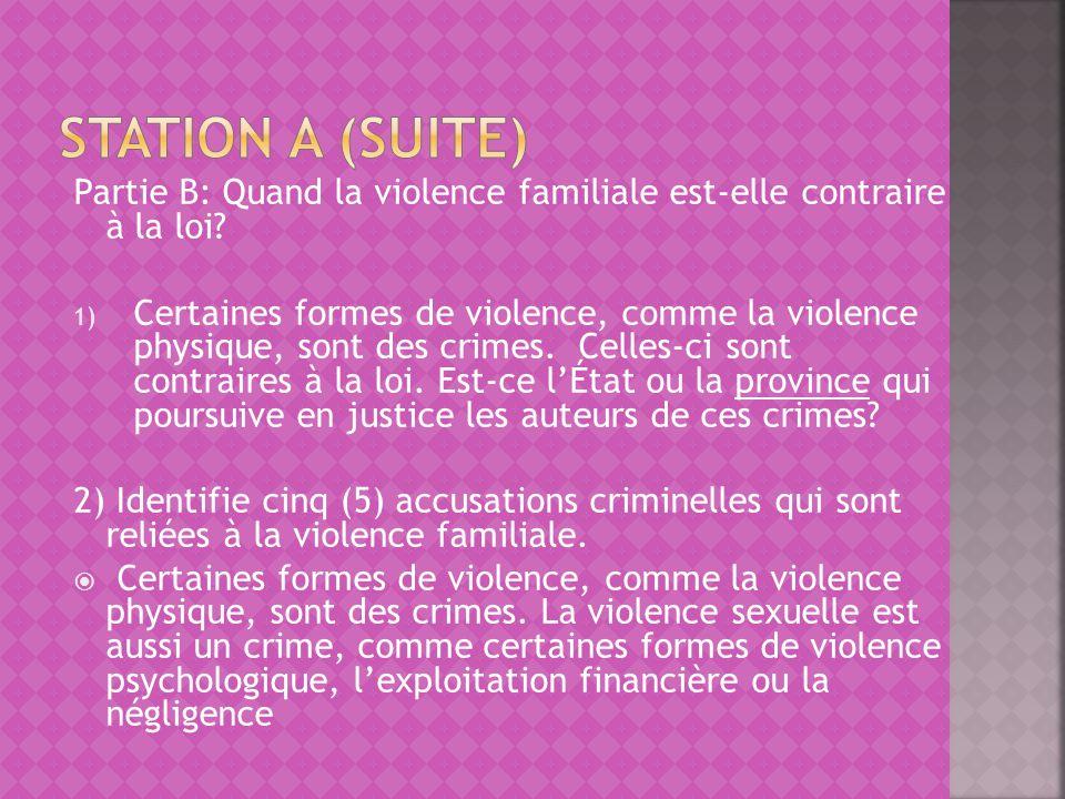 Partie B: Quand la violence familiale est-elle contraire à la loi? 1) Certaines formes de violence, comme la violence physique, sont des crimes. Celle