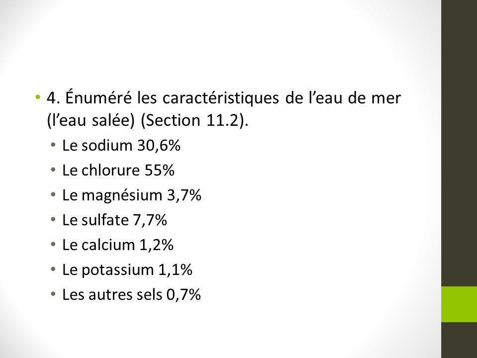 4. Énuméré les caractéristiques de leau de mer (leau salée) (Section 11.2). Le sodium 30,6% Le chlorure 55% Le magnésium 3,7% Le sulfate 7,7% Le calci