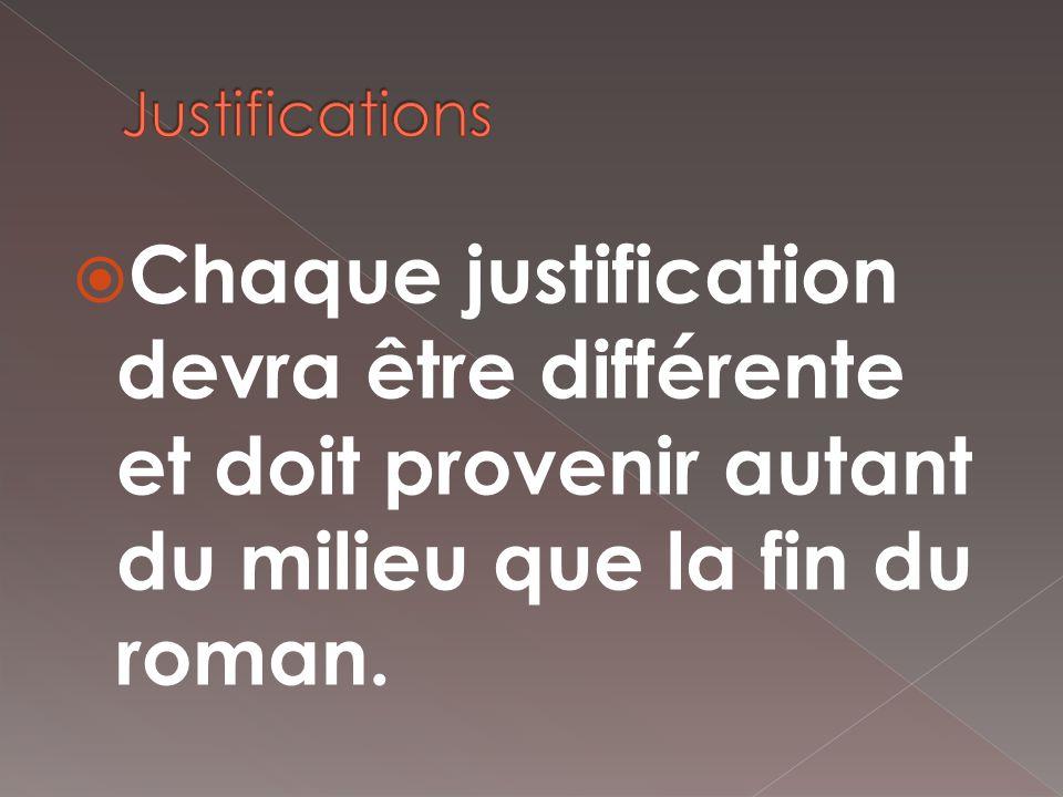 Chaque justification devra être différente et doit provenir autant du milieu que la fin du roman.