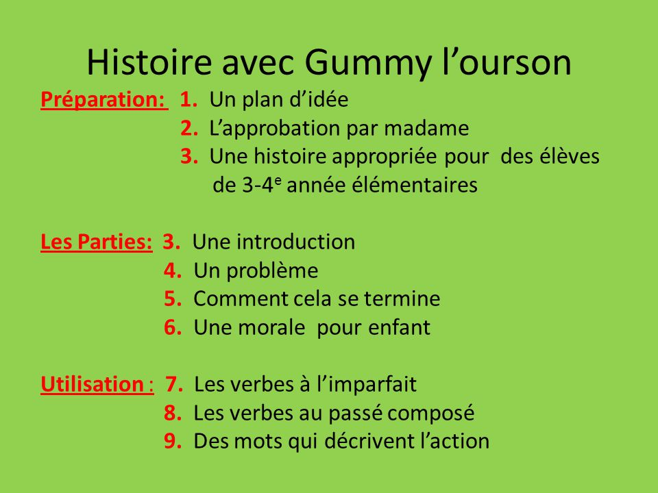 Histoire avec Gummy lourson Préparation: 1. Un plan didée 2. Lapprobation par madame 3. Une histoire appropriée pour des élèves de 3-4 e année élément