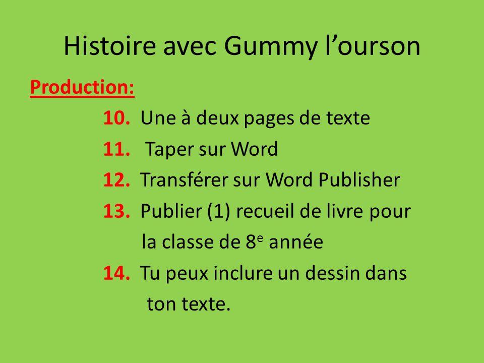Histoire avec Gummy lourson Production: 10. Une à deux pages de texte 11. Taper sur Word 12. Transférer sur Word Publisher 13. Publier (1) recueil de