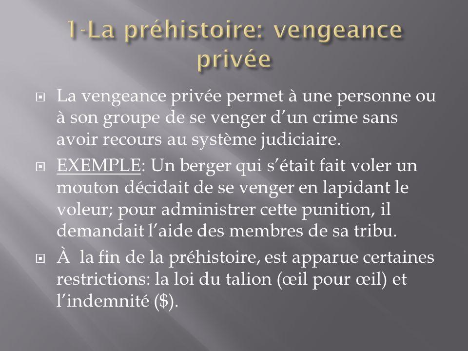 La vengeance privée permet à une personne ou à son groupe de se venger dun crime sans avoir recours au système judiciaire.